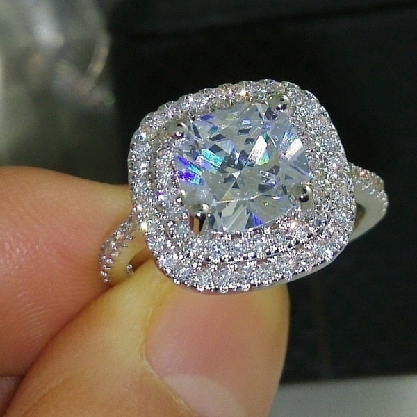 Halle  Cushion Cut Simulated Diamond Halo Engagement Ring with Double Halo Pave Set Band