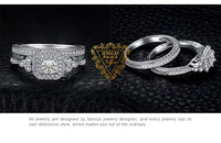 Solid Sterling Silver Princess Cut Simulated Diamond Engagement Ring and Matching Wedding Band with Antique Filigree and Scroll Work. Choose Your Center Stone Size