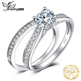 6.6mm Round Brilliant Simulated Diamond Engagement Ring with Cathedral Scroll Detail and Matching Wedding Band