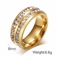 Belinda Double Row Simulated Round Brilliant Diamond Eternity Ring Wedding Band with Channel Set Stones.