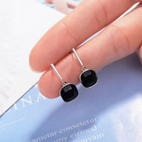 Retro Fashion Earrings with Simulated Onyx Cushions Bezel Set Into Solid Sterling Silver Settings with Friction Posts and Backs