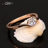 Round Brilliant Tension Set Simulated Diamond Engagement Ring With Tapered Bypass Design