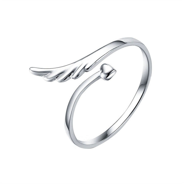 Mon Coeur Petite Flying Heart Ladies Bypass Angle Wing Style Adjustable Finger Ring