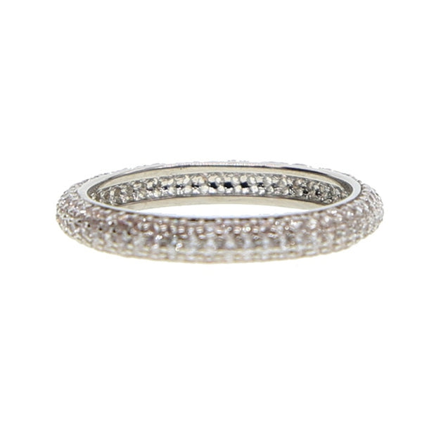 Naomi Stackable Pave Set Round Brilliant Simulated Diamond Eternity Rings in White, Rose or Black