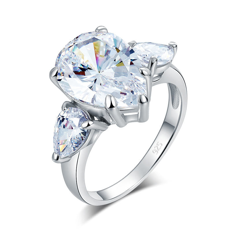 Jane Pear Cut Cubic Zirconium 4 Carat Solid 925 Sterling Silver engagement Ring Three-Stone Pageant Luxury Jewelry