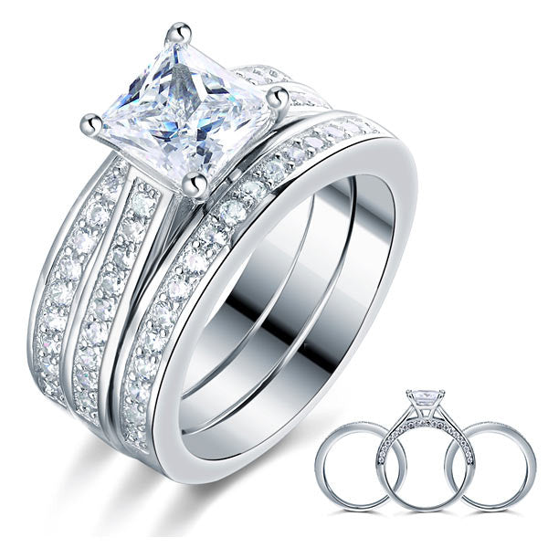 Christina 1.5ct princess 925 Sterling Silver 3 Pcs Wedding Engagement Ring Set Simulated Diamond
