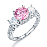 Kristin Pink 8mm/5mm Round Brilliant Cubic Zirconium Three Stone Engagement Ring Solid 925 Sterling Silver 3-Stone Wedding Ring