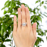 Cecily 10x7mm Pear Cut Cubic Zirconium Halo Engagement Ring/ Wedding Set olid Sterling 925 Silver