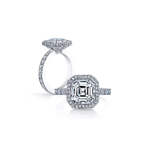 Alexis 3 Carat Asscher Cut Cubic Zirconia Simulated Diamond Halo Engagement Ring with Pave Under gallery in Solid Sterling Silver