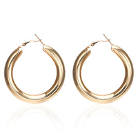 Beautiful Round 3 Dimensional Hoop Earrings With Omega Style Posts and Backs in White and Yellow Gold Options Measures 50mm and Weighing 16.2 Grams