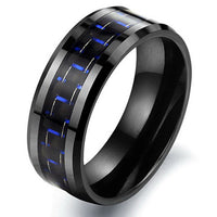 Liam Black Titanium Wedding Band with Laser Etching with Blue Accents.