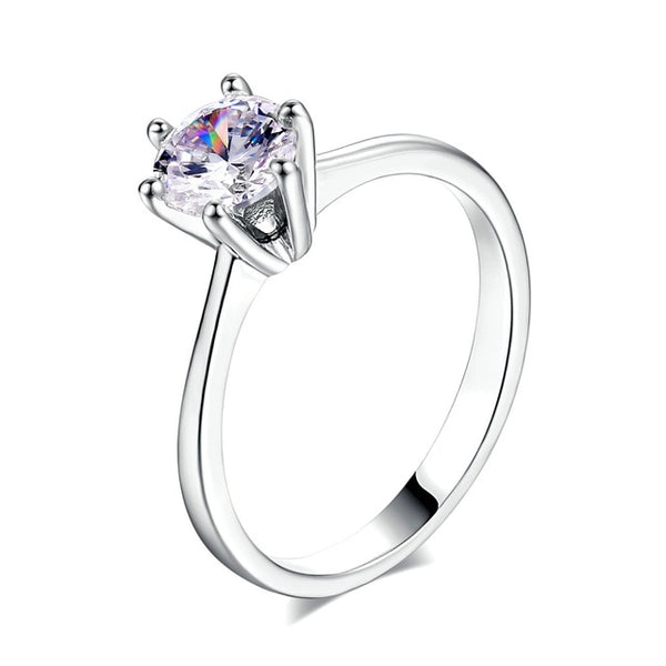 6mm Round Brilliant Simulated Diamond in A Crown 6 Prong Solitaire Engagement Ring Set in White or Rose