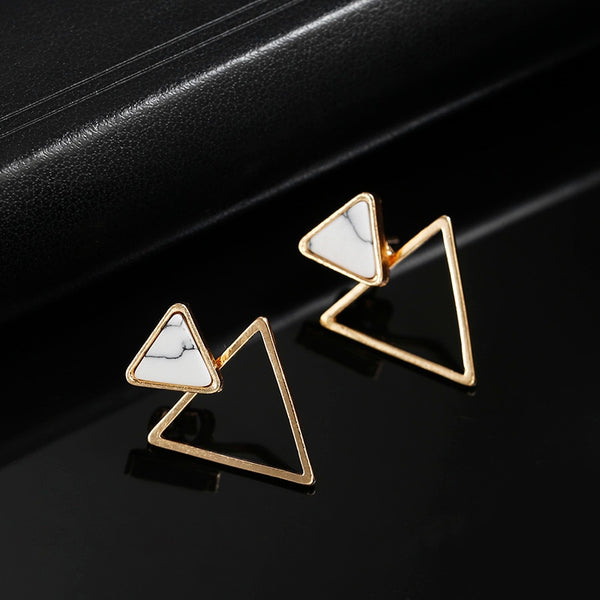 White Simulated Lapis Earrings with Triangle Shape with Triangle Metal Accent in Yellow Gold with Tension Posts and Backs Measuring 17mm by 22mm