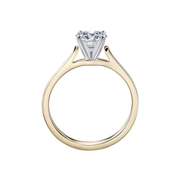 Agatha 7mm 1.25ct Round Brilliant Created Diamond Simulant Solitaire in Yellow Gold Cathedral Setting.