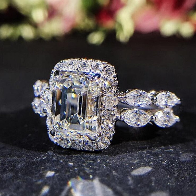 Gigi Emerald Cut Halo Engagement Ring with Double Marquise Cut Band