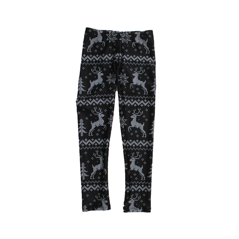 Black Winter Knit Kids Leggings