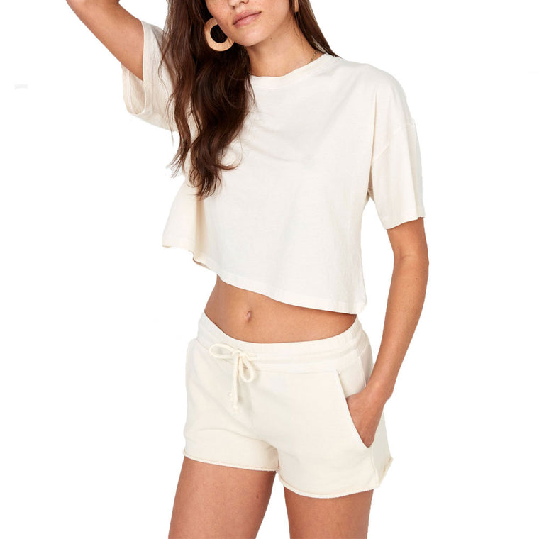 Boxy Cropped Organic Cotton Crew