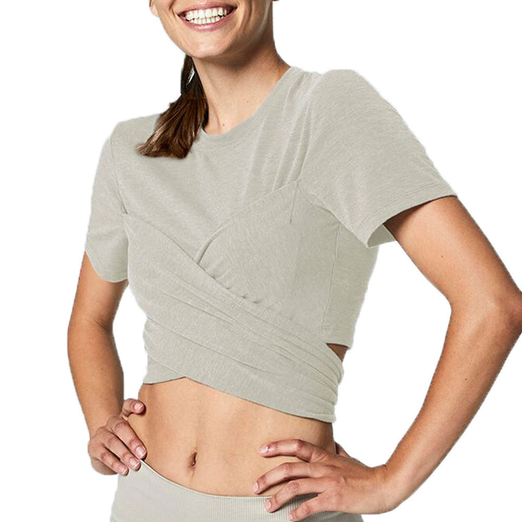 Ruth Oatmeal Tie Back Crop Top