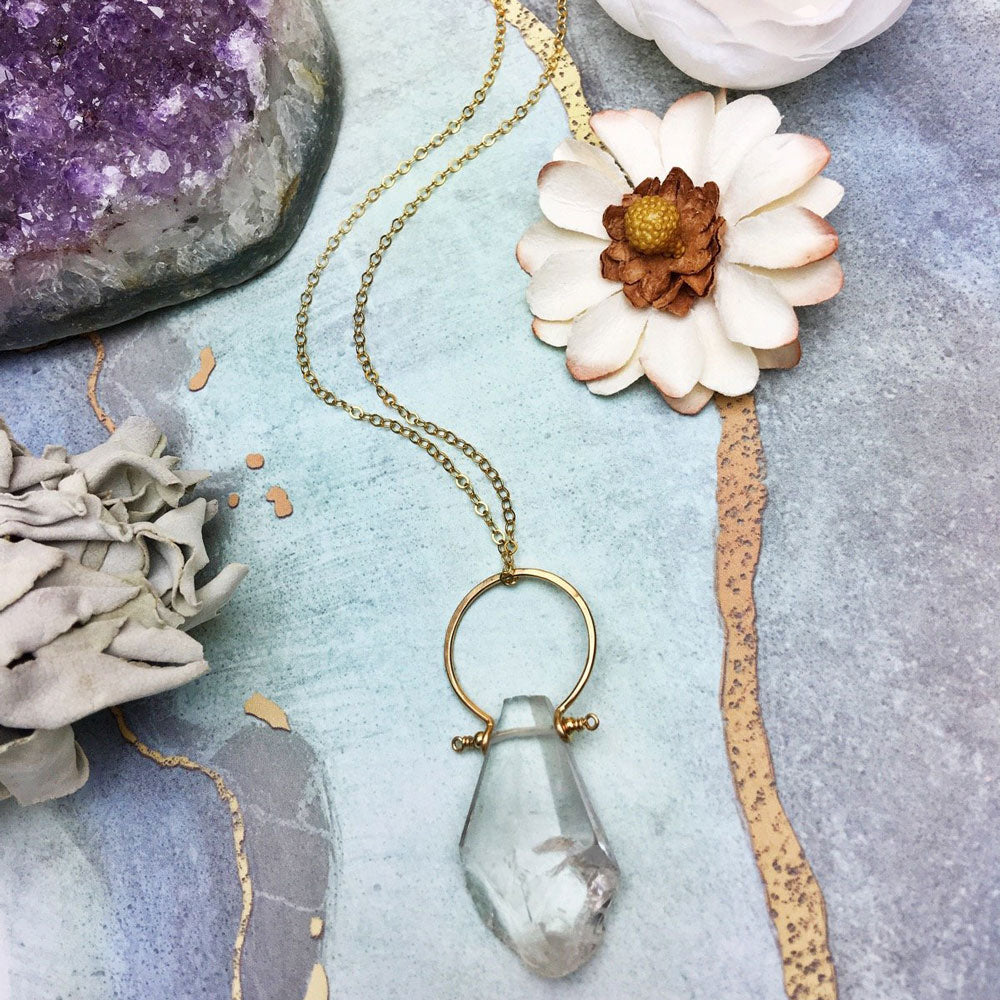 Natural Crystal Quartz Drop Pendant Nats Necklace