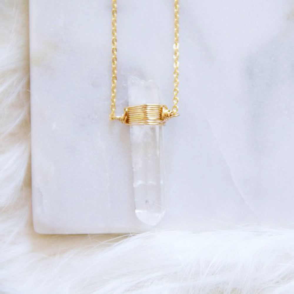 Clear Quartz Point Necklace
