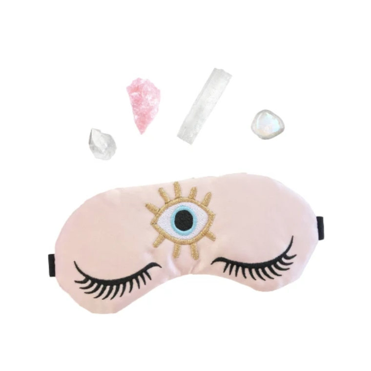 Weighted Rose Quartz Healing Crystal Infused Sleep Mask