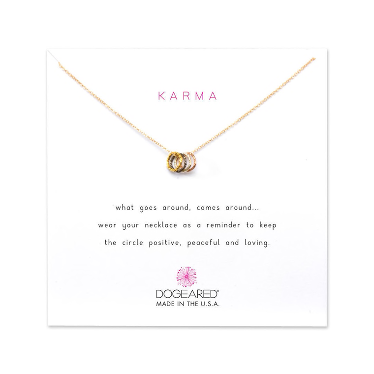 Tiny Sparkle Triple Ring Karma Necklace