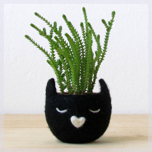 Cat lover/cute planter/Succulent Planter/ birthday gift/indoor planter/animal planter/black cat/crazy cat lady/modern planter