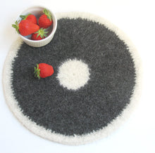 Wool felted placemat/Organic eco-friendly/Cream and dark gray/grandma gift/home decor/gift for her/Christmas gift
