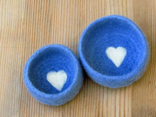 Felted bowls/Nesting bowls/Jewelry holder/wedding favor/Blue vessel with heart/hostess warming gift