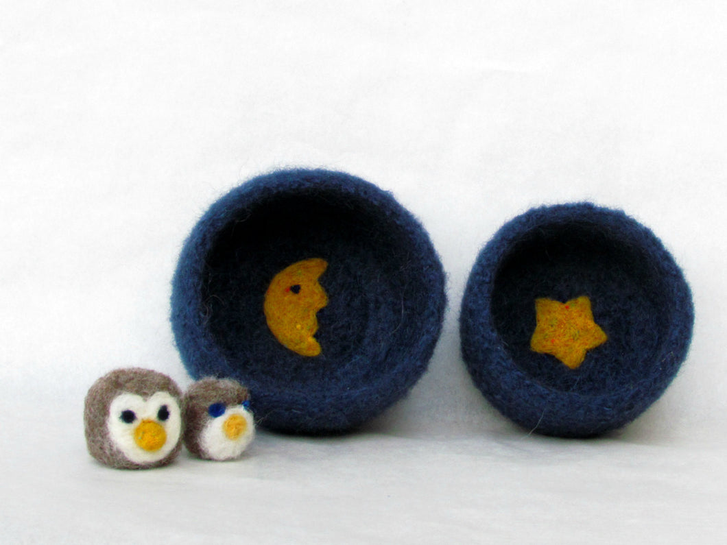 Felt bowls blue - Cozy little vessel with yellow moon and star - nesting wool bowls set of two - mother day gift