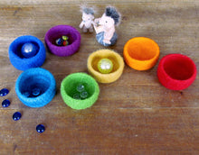 Waldorf Rainbow bowls/kids felt toy/eco friendly toys/desk organizer/waldorf soft toys/educational toy/waldorf baby toys