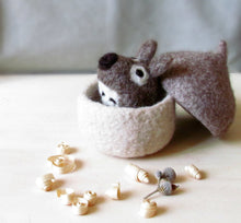 Felted acorn/Needle felted mouse/eco friendly toy/felt play set/cute toy