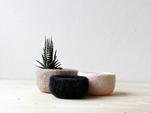 Wool bowls/eco friendly decor/Nesting bowls/desk organizer/housewarming gift/gift for her/scandinavian modern  decor