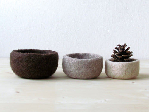Felt bowl/ombre brown/eco-friendly storage/ring holder/fall home decor