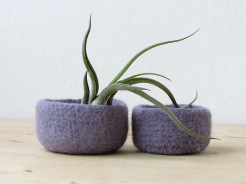 Purple grey felted bowl/Two nesting bowls in light lilac/Cozy gift Air plant holder - Wool vessel