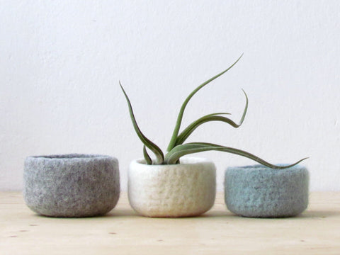 Felted wool bowls/light grey, white, grey green/minimalist home decor/desktop organizer/Eco-friendly gift