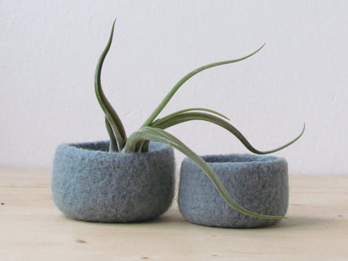 Grey green felted bowl/Two nesting bowls in grey green/Cozy Air plant holder/Minimalist decor