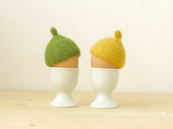 Egg cosies for Easter - green and yellow pastel - felted acorn cap - Set of two - House warming gift - table decor
