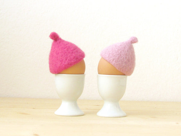 Egg cosies for Easter - Pink pastel - felt acorn cap - Set of two - House warming gift - table decor