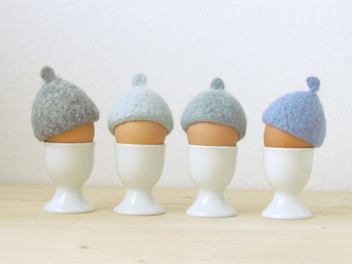 Easter table decor/Egg cozy for Easter - pastel blue - felted acorn cap - Set of four - House warming gift