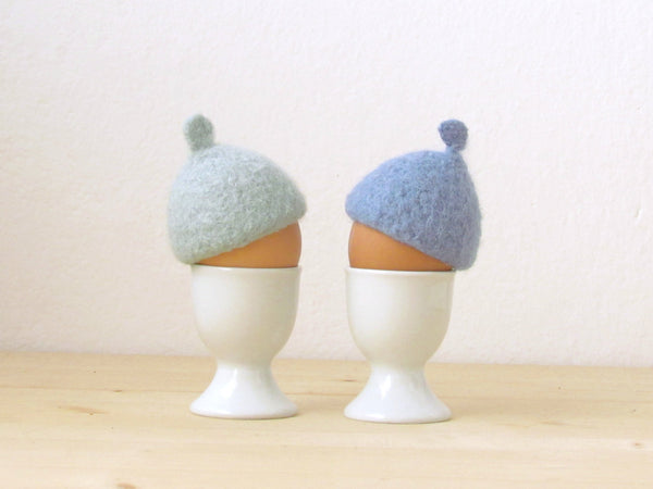 Egg cozy - Pastel blue pastel - felted egg cap - Set of two - House warming gift - Easter table decor