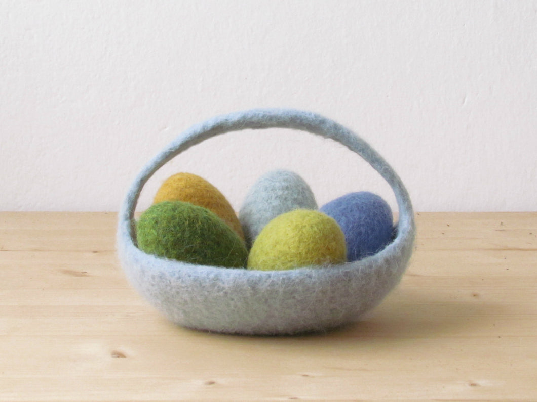 Felted basket/Easter basket/Easter decoration/Ring bearer/wedding pillow/Light grey green/CHOOSE YOUR COLOR