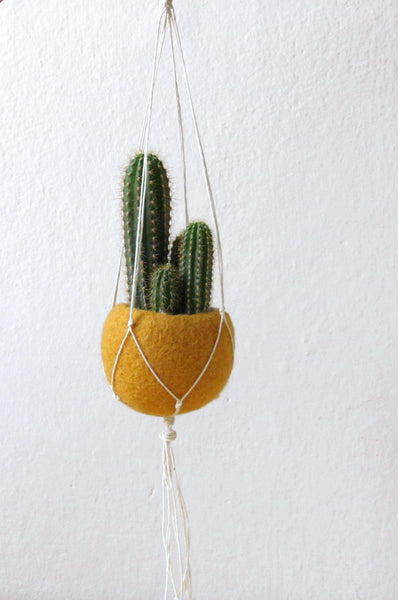 Macrame planter/Hanging planter/Mustard Felt planter/Macrame hanging vase/gift for her/cactus vase/CHOOSE YOUR COLOR