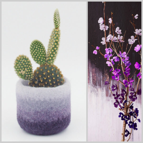 Felt succulent vase/Flowers/felted planter/cactus vase/Ombre Purple/housewarming gift/gift for her
