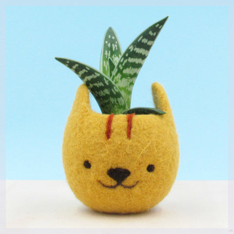 Neko Atsume planter special edition/Felt succulent planter/Cat head planter/Kawaii kitty gift/gift for her