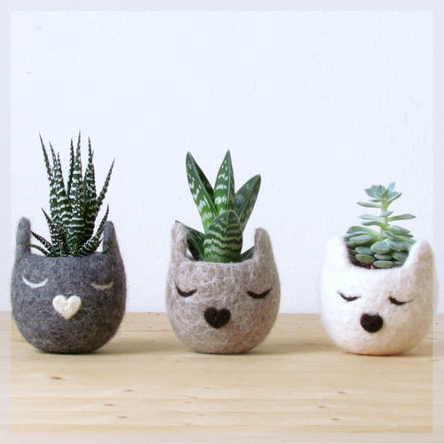 Succulent planter set/Cat head planter/Personalized felt vase/cat lover gift/hostess gift - Set of three