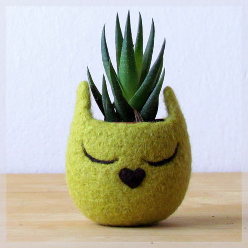 Cat head planter/Small succulent pot/Olive cat/Felt succulent planter/cat lover gift - Choose your color!