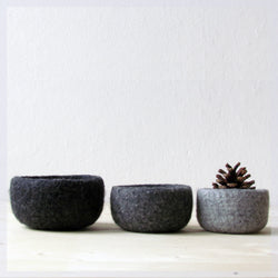 Catchall/Hygge decor/Felted bowl /Scandinavian modern/eco friendly decor/wool nesting bowls/grey minimalist/desk organizer