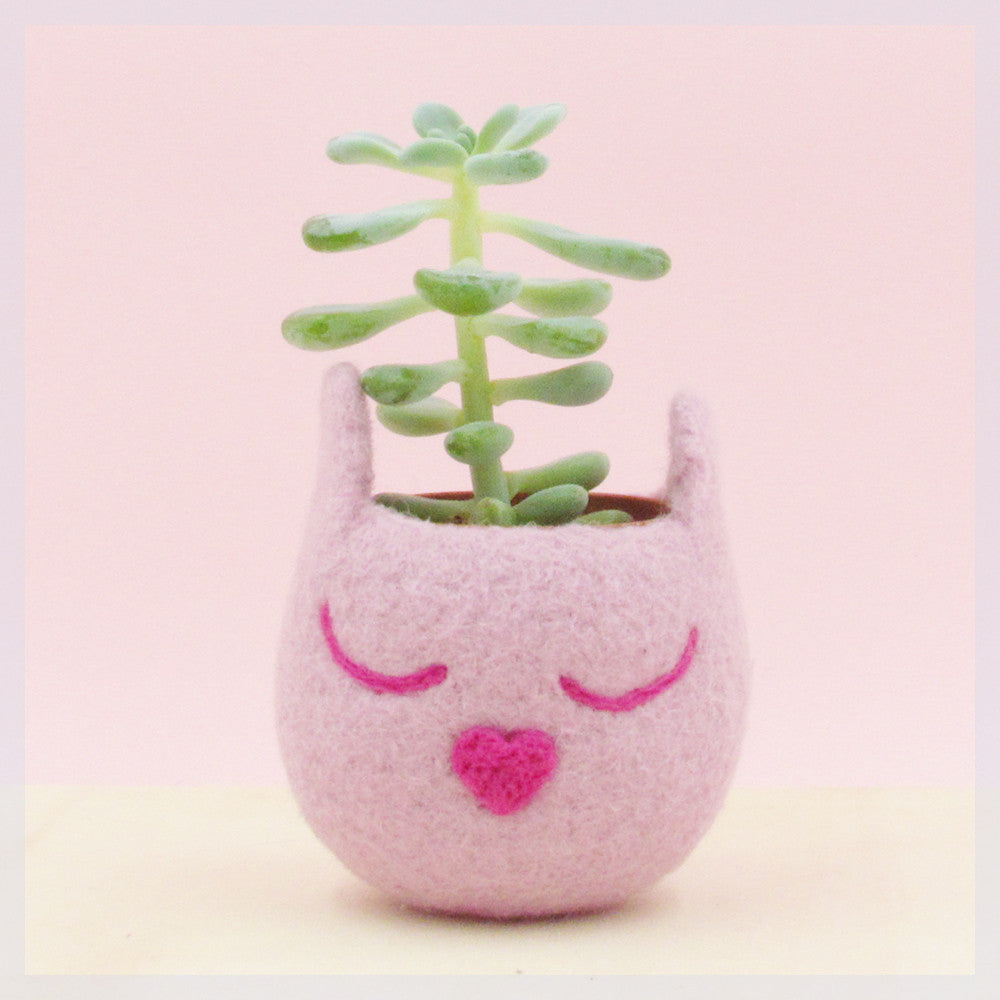 Blush pink cat planter/Cat head planter/Small succulent pot/succulent planter/cat lover gift/cat vase/nursery decor/teacher