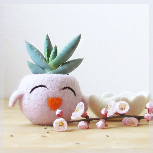 Cute cactus vase/blush pink succulent planter/Happy Chick/Animal planter/Spring gift/Mini Plant Vase/teacher gift
